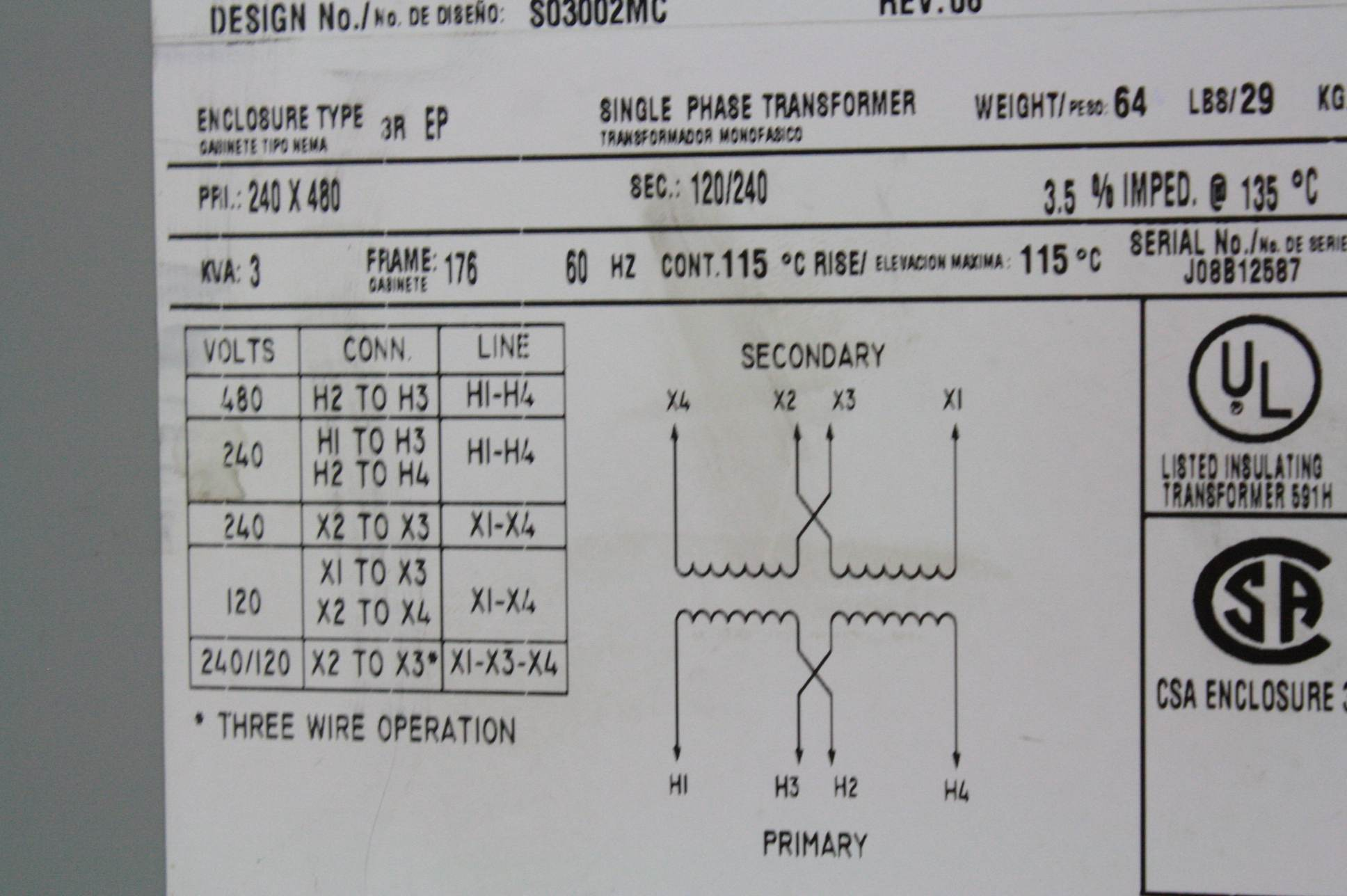 480 volt to 240 volt single phase transformer wiring diagram micron g003k1kf1a03 single phase transformer 3 kva / 240 ...